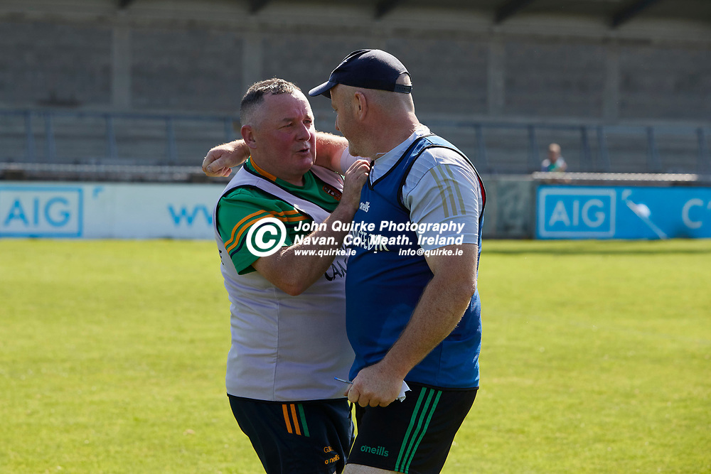 17-07-21, Joe McDonagh Cup Relegation play-off at Parnell Park.<br /> Meath v Kildare<br /> Meath Manager, Nick Weir and Gerry McLoughlin embrace after Meath defeated Kildare in the Relegation play-off<br /> Photo: David Mullen / www.quirke.ie ©John Quirke Photography, Proudstown Road Navan. Co. Meath. 046-9079044 / 087-2579454.<br /> ISO: 400; Shutter: 1/1600; Aperture: 5.6;