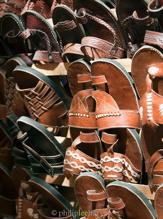 Leather slippers and sandals for sale in the shops of the medina in Fes, Morocco