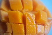 Ready to eat, cut, Flat lay mango tropical fruit
