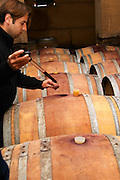Philippe Viret taking a barrel sample of aging red wine. Domaine Viret, Saint Maurice sur Eygues, Drôme Drome France, Europe