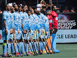 players of India during the national hymne during the Champions Trophy finale between the Australia and India on the fields of BH&BC Breda on Juli 1, 2018 in Breda, the Netherlands.