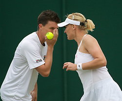 24.06.2011, Wimbledon, London, GBR, Wimbledon Tennis Championships, im Bild Kenneth Skupski (GBR) and Elena Baltacha (GBR) in action during the Mixed Doubles 1st Round match on day five of the Wimbledon Lawn Tennis Championships at the All England Lawn Tennis and Croquet Club, EXPA Pictures © 2011, PhotoCredit: EXPA/ Propaganda/ *** ATTENTION *** UK OUT!
