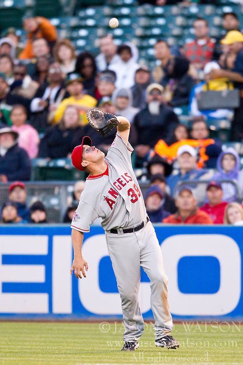June 9, 2010; Oakland, CA, USA;  Los Angeles Angels first baseman Robb Quinlan (39) catches a fly ball against the Oakland Athletics during the fifth inning at Oakland-Alameda County Coliseum. Los Angeles defeated Oakland 7-1.
