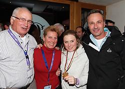 14.02.2013, Oh la la - Gasthaus Brunner, AUT, FIS Weltmeisterschaften Ski Alpin, Schladming, im Bild Tessa Worley (FRA, 1. Platz) mit ihrem Grossvater, ihrer Mutter und ihrem Vater // 1st place Tessa Worley of France with her grandfather, mother and father during FIS Ski World Championships 2013 at the Oh la la - Gasthaus Brunner, Schladming, Austria on 2013/02/14. EXPA Pictures © 2013, PhotoCredit: EXPA/ Martin Huber.