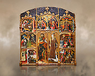 Gothic altarpiece of Saint Esteve (Stephen) & John the Baptist by Mestre de Bardalona, early 15th century, tempera and gold leaf on for wood from Santa Maria de Badalona.  National Museum of Catalan Art, Barcelona, Spain, inv no: MNAC   15824. .. .<br /> <br /> If you prefer you can also buy from our ALAMY PHOTO LIBRARY  Collection visit : https://www.alamy.com/portfolio/paul-williams-funkystock/gothic-art-antiquities.html  Type -     MANAC    - into the LOWER SEARCH WITHIN GALLERY box. Refine search by adding background colour, place, museum etc<br /> <br /> Visit our MEDIEVAL GOTHIC ART PHOTO COLLECTIONS for more   photos  to download or buy as prints https://funkystock.photoshelter.com/gallery-collection/Medieval-Gothic-Art-Antiquities-Historic-Sites-Pictures-Images-of/C0000gZ8POl_DCqE