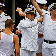 NLD/Amsterdam/20100807 - Boten tijdens de Canal Parade 2010 door de Amsterdamse grachten. De jaarlijkse boottocht sluit traditiegetrouw de Gay Pride af. Thema van de botenparade was dit jaar Celebrate, Derek Ogilvie