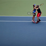 2017 U.S. Open Tennis Tournament - DAY THIRTEEN. Martina Hingis of Switzerland and Jamie Murray of Great Britain celebrate winning the Mixed Doubles Final against Hao-Ching Chan of Chinese Taipei and Michael Venus of New Zealand at the US Open Tennis Tournament at the USTA Billie Jean King National Tennis Center on September 09, 2017 in Flushing, Queens, New York City.  (Photo by Tim Clayton/Corbis via Getty Images)
