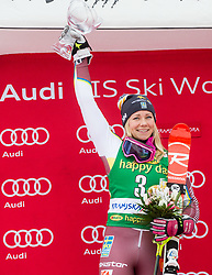 "Second placed Frida Hansdotter (SWE)  celebrates during trophy ceremony after the 2nd Run of the FIS Alpine Ski World Cup 2017/18 7th Ladies' Slalom race named ""Golden Fox 2018"", on January 7, 2018 in Podkoren, Kranjska Gora, Slovenia. Photo by Ziga Zupan / Sportida"