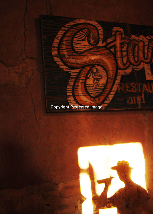 Back door of the Starlight Lounge in Terlingua Ghost Town, Texas.