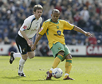 Photo: Aidan Ellis.<br /> Preston North End v Norwich City. Coca Cola Championship. 08/04/2006.<br /> Norwich's Robert Earnshaw fires in a rare shot