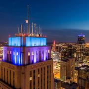 Kansas City Hall aerial photo at dusk