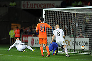 Swansea city's Alvaro Vazquez (26) sees his shot end up in the back of the net but his 'goal' is dissallowed. UEFA Europa league match, Swansea city v Valencia at the Liberty Stadium in Swansea on Thursday 28th November 2013. pic by Andrew Orchard, Andrew Orchard sports photography,