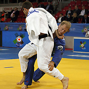 France's Cyril MARET (L) and BEL's Van Der GEEST (R) during their men's 100 kg. category bout at the European Judo Championships in the Abdi Ipekci Arena, Istanbul, Turkey on 23 April 2011. Photo by TURKPIX