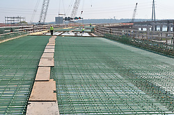 Pearl Harbor Memorial Bridge, New Haven Harbor Crossing Corridor. CT DOT Contract B1 Project No. 92-618 Progress Photography. Northbound West Approaches. Sixth on site photo capture of once every four month chronological documentation. Deck, steel and rebar, Ramp I.