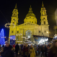 Christmas market in front of Saint Stephen Basilique in central Budapest, Hungary on December 11, 2014. ATTILA VOLGYI