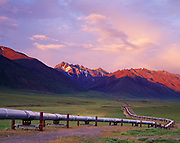 The Trans Alaska Pipeline south of Pump Station 4 with the Philip Smith Mountains of the Brooks Range beyond, Alaska.