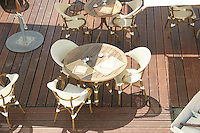 Cafe tables on Promenade des Anglais Nice France