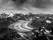 Aerial view of the Ruth Glacier and the Alaska Range on a sightseeing flight from Talkeetna, Alaska.