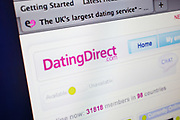 Computer screen showing the website for Dating Direct. Online dating site.