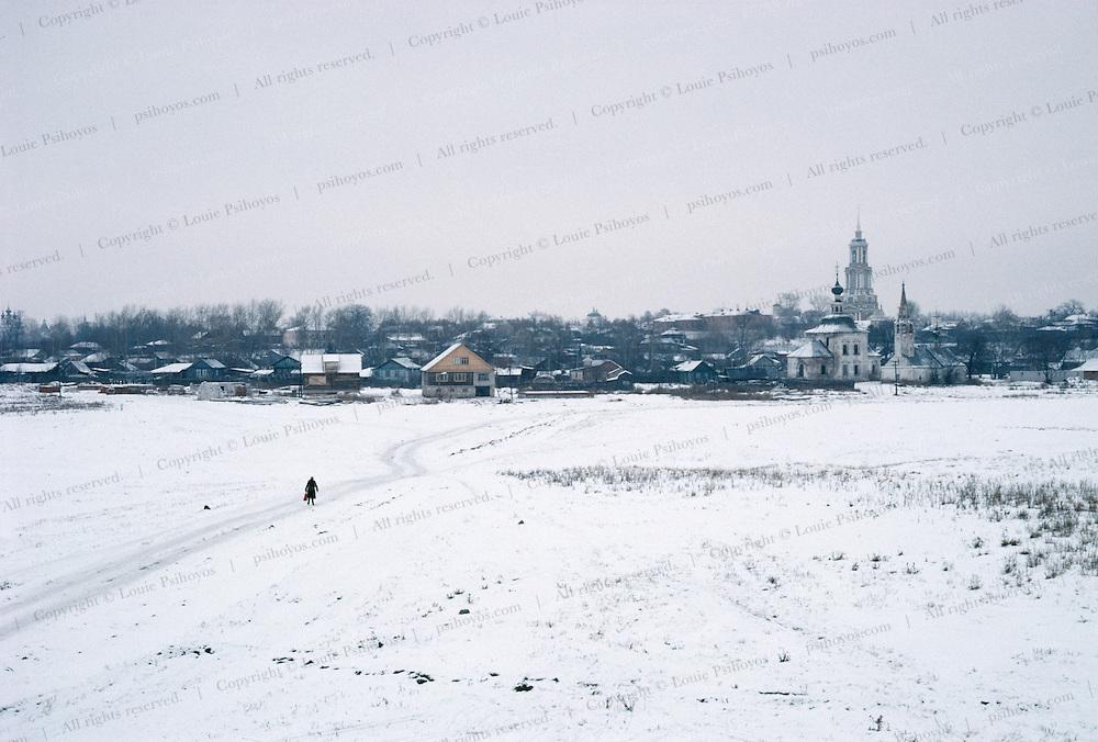Walking into town, Uzbekistan 1993.