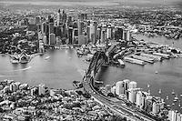 Quintessential Aerial View of Sydney (monochrome)