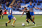 AFC Wimbledon midfielder Andy Barcham (17) in action  during the EFL Sky Bet League 1 match between Shrewsbury Town and AFC Wimbledon at Greenhous Meadow, Shrewsbury, England on 24 March 2018. Picture by Simon Davies.