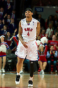 DALLAS, TX - JANUARY 21: Keith Frazier #4 of the SMU Mustangs celebrates after a made three-pointer against the Rutgers Scarlet Knights on January 21, 2014 at Moody Coliseum in Dallas, Texas.  (Photo by Cooper Neill/Getty Images) *** Local Caption *** Keith Frazier