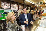 U.S. Senator Ted Cruz and GOP presidential candidate along with wife Heidi chose a drink at the Beacon Drive-in restaurant before holding a town hall meeting with supporters April 3, 2015 in Spartanburg, South Carolina.