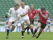 24/05/2002<br /> Sport - Rugby Union<br /> IRB World Sevens Series - Twickenham<br /> England vs Canada - Pool B<br /> Nick Duncombe supported by Tony Roques on the break<br />    [Mandatory Credit, Peter Spurier/ Intersport Images]<br />    [Mandatory Credit, Peter Spurier/ Intersport Images]
