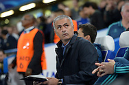 José Mourinho, the Chelsea Manager arrives at the dugout looking up towards  Maccabi Tel Aviv travelling supporters before k/o. UEFA Champions League group G match, Chelsea v Maccabi Tel Aviv at Stamford Bridge in London on Wednesday 16th September 2015.<br /> pic by John Patrick Fletcher, Andrew Orchard sports photography.