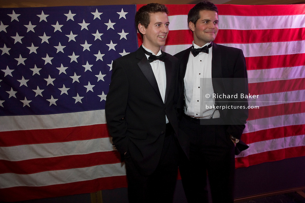 US expatriate citizens gather at a formal ball for Barack Obama's inauguration as the 44th US President in London. .