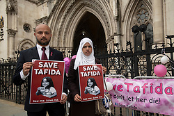 Shelina Begum and husband Mohammed Raqeeb arrive at the Royal Courts of Justice in London, where they are at the centre of a High Court life support treatment dispute over their five-year-old daughter Tafida.