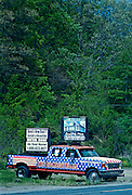 Northcentral Pennsylvania, Americana, Roadside Flag on Truck sign, Potter County