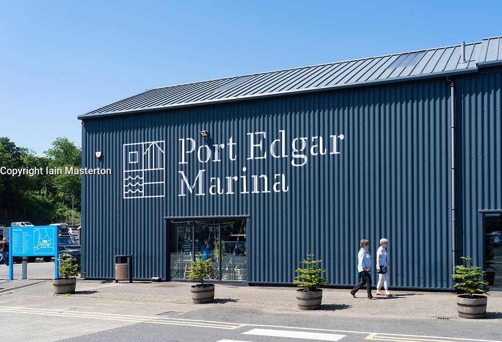 View of retail units at Port Edgar marina at South Queensferry, West Lothian, Scotland, UK