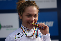 Winner Lucy Garner (Great Britain) during medal ceremony after the Women´s Junior Road Race on day five of the UCI Road World Championships on September 23, 2011 in Copenhagen, Denmark. (Photo by Marjan Kelner / Sportida Photo Agency)