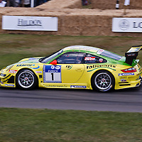 #1 Porsche 997 GT3 RSR MR, driver Olaf Manthey, at the Goodwood FOS on 28 June 2015