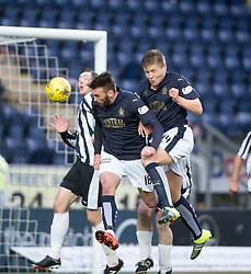 Falkirk's Lee Miller scoring their goal. <br /> Half time ; Falkirk 1 v 0 Fraserburgh, Scottish Cup third round, played 28/11/2015 at The Falkirk Stadium.