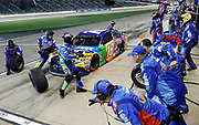 during a NASCAR Cup Series auto race at Kansas Speedway in Kansas City, Kan., Saturday, May 12, 2018. (AP Photo/Colin E. Braley)