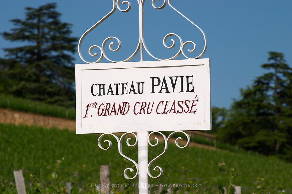 A white sign in the vineyard of Chateau Pavie 1er premier first Grand Cru Classe, detail Saint Emilion Bordeaux Gironde Aquitaine France