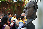 A bronze bust of martyred Archbishop Oscar Romero outside his former rectory and home. El Salvador prepares for the beatification ceremony and mass announcing the beatification of Archbishop Oscar Romero. The Archbishop was slain at the alter of his Church of the Divine Providence by a right wing gunman in 1980. Oscar Arnulfo Romero y Galdamez became the fourth Archbishop of San Salvador, succeeding Luis Chavez, and spoke out against poverty, social injustice, assassinations and torture. Romero was assassinated while offering Mass on March 24, 1980.