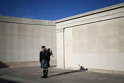 A piper at the National Memorial Arboretum, Alrewas, Staffordshire, on the 100th anniversary of the signing of the Armistice which marked the end of the First World War.