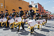 A police marching band parades through the historic during Mexican Independence Day celebrations September 16, 2017 in San Miguel de Allende, Mexico.