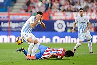 "Atletico de Madrid's player Nico GaitánJuan Carlos ""Juankar"" Perez and Malaga CF XXX during a match of La Liga Santander at Vicente Calderon Stadium in Madrid. October 29, Spain. 2016. (ALTERPHOTOS/BorjaB.Hojas)"