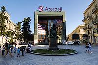 Azerbaijan, Baku. Natavan monument in central Baku.