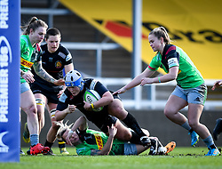 Chloe Rollie of Harlequins attempts a tackle on Sachiko Kato of Exeter Chiefs - Mandatory by-line: Andy Watts/JMP - 06/02/2021 - Sandy Park - Exeter, England - Exeter Chiefs Women v Harlequins Women - Allianz Premier 15s