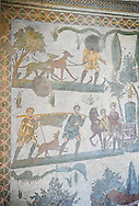 Mosaics of The Small Hunt, no 25 - Roman mosaics at the Villa Romana del Casale which containis the richest, largest and most complex collection of Roman mosaics in the world, circa the first quarter of the 4th century AD. Sicily, Italy. A UNESCO World Heritage Site. .<br /> <br /> If you prefer to buy from our ALAMY PHOTO LIBRARY  Collection visit : https://www.alamy.com/portfolio/paul-williams-funkystock/villaromanadelcasale.html<br /> Visit our ROMAN MOSAICS  PHOTO COLLECTIONS for more photos to buy as buy as wall art prints https://funkystock.photoshelter.com/gallery/Roman-Mosaics-Roman-Mosaic-Pictures-Photos-and-Images-Fotos/G00008dLtP71H_yc/C0000q_tZnliJD08