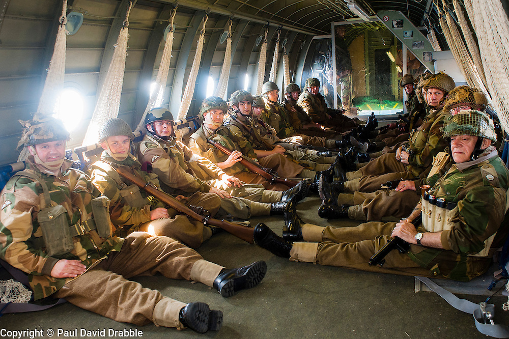 Reenactors of the NWW2A Portraying members of the 6th Airborne Division ready to jump during a 1940s wartime weekend at Fort Paull on Bank Holiday Monday ..5 May 2013.Image © Paul David Drabble