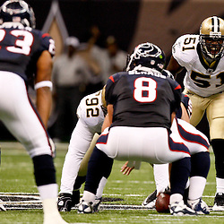 August 21, 2010; New Orleans, LA, USA; New Orleans Saints linebacker Jonathan Vilma (51) lines up across from the Houston Texans offense during the first quarter of a preseason game at the Louisiana Superdome. Mandatory Credit: Derick E. Hingle