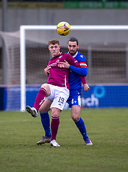 06MAR21 Arbroath's Jack Hamilton and Queen of the South's Gregor Buchanan. Arbroath 2 v 4 Queen of the South, Scottish Championship played 6/3/2021 at Arbroath's home ground, Gayfield Park.
