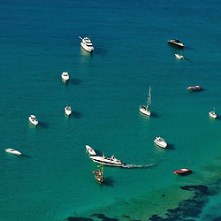 Aerial View of boats and yachts in Ibiza, Spain